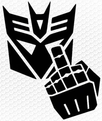 Decepticon Giving Finger Vinyl Decal Sticker