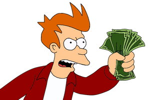 Futurama Fry with Money Vinyl Decal Sticker