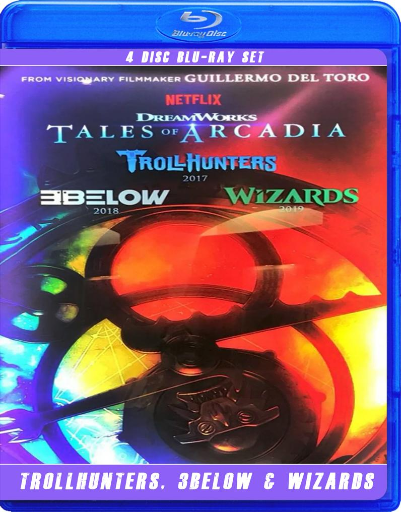 TALES OF ARCADIA,TROLLHUNTERS,3BELOW AND WIZARDS BLU RAY!!