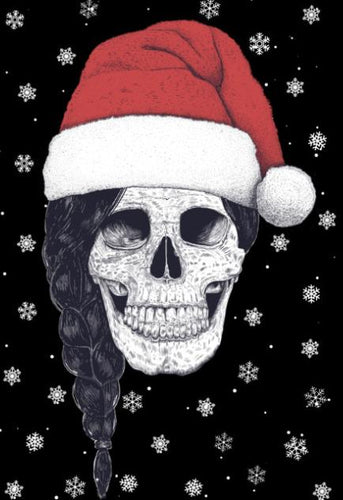 Christmas Skull Color Vinyl Decal
