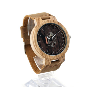 BOBO BIRD Watch Wooden Zebra Pattern, Genuine Leather band Wristwatch B-H29 - HyperbrainStudios.com