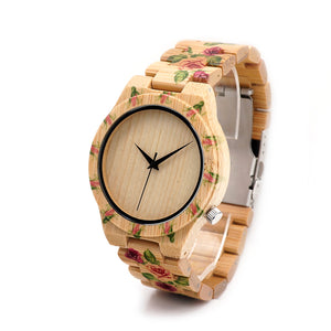 BOBO BIRD Luxury Women's Bamboo Wood Watch with Flower Design C-D21 - HyperbrainStudios.com