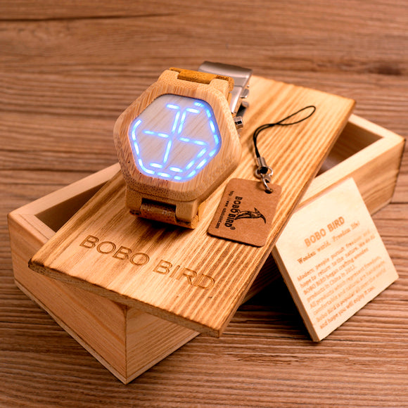 BOBO BIRD LED Digital Bamboo Watch - HyperbrainStudios.com