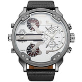 Oulm Top Luxury Brand Multiple Time Zone Men Watches Huge Big Size Male Sports Wrist Watch Analog Leather Fabric Quartz Watches - HyperbrainStudios.com