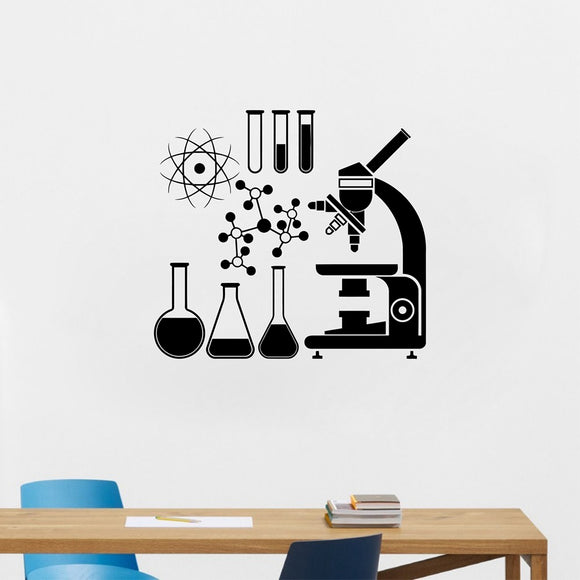 Microscope Science Scientist Chemistry Vinyl Wall Sticker School laboratory Wall Art Mural Decals Decor - HyperbrainStudios.com