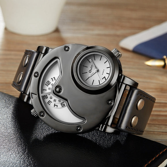 OULM Brand Luxury Brand Watches Men Army Military Dual Time Movement Mens Leather Starp Quartz Wrist Watch relogio masculino - HyperbrainStudios.com