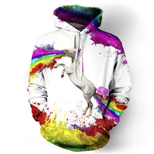 Fashion 3D printed hoodie pullovers - Unicorn - HyperbrainStudios.com