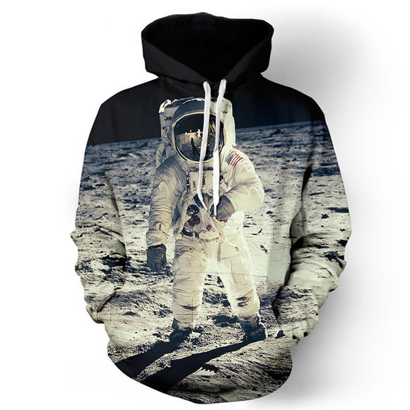 Fashion 3D printed hoodie pullover - Astronaut's Moon Mission. - HyperbrainStudios.com