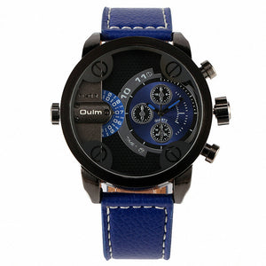 OULM Men's Casual Military Quartz Wristwatch Leather Strap Oversize Dual Time Zone Sub Dial Luxury DZ Watches Design + Gift Box - HyperbrainStudios.com