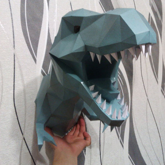 DIY Home Decoration Tyrannosaur Dinosaur Head Paper Model Puzzle - HyperbrainStudios.com