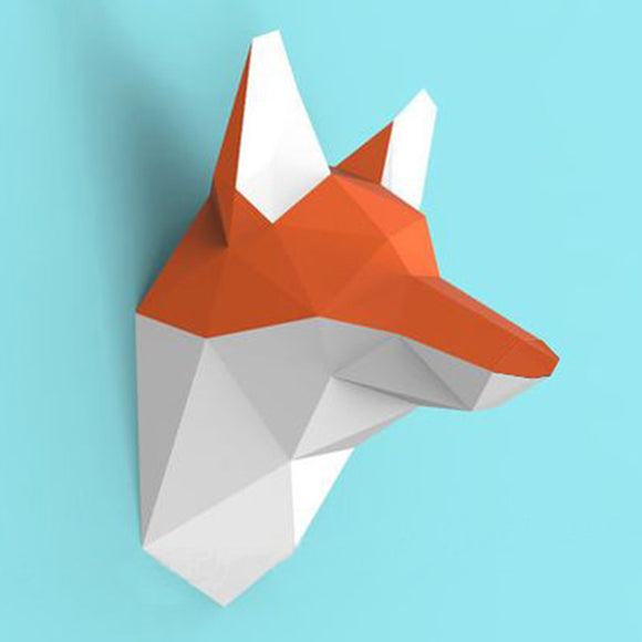 DIY Home Decoration Cute Fox Head Paper Model Puzzle - HyperbrainStudios.com
