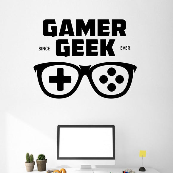 Game Handle Glasses Sticker Gamer Decal Gaming Posters Gamer Vinyl Wall Decals Parede Decor Mural Video Game Sticker - HyperbrainStudios.com
