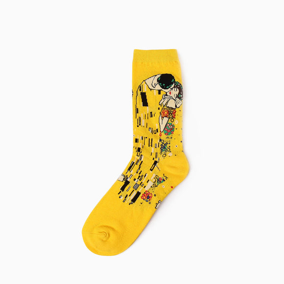 Gustav Klimt, The Kiss Painting Cotton Crew Socks Men/Women One Size (EU 37 - 45, US 6 - 11 ) - HyperbrainStudios.com