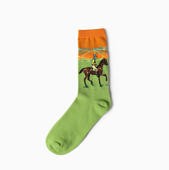 Race Horse Cotton Crew Socks Men/Women One Size (EU 37 - 45, US 6 - 11 ) - HyperbrainStudios.com