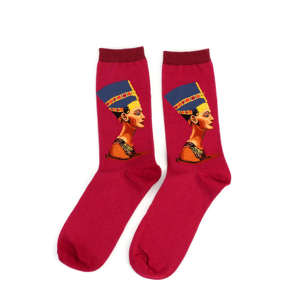 Nefertiti Red Cotton Crew Socks Men/Women One Size (EU 37 - 45, US 6 - 11 ) - HyperbrainStudios.com