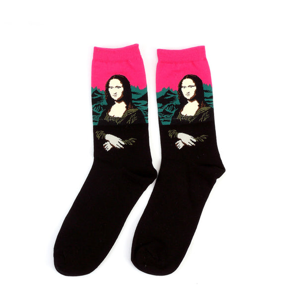 Da Vinci Mona Lisa Painting Cotton Crew Socks Men/Women One Size (EU 37 - 45, US 6 - 11 ) - HyperbrainStudios.com
