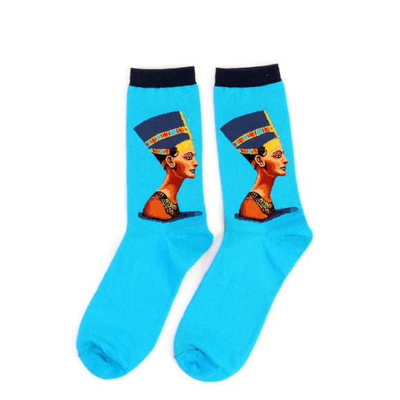 Nefertiti Cotton Crew Socks Men/Women One Size (EU 37 - 45, US 6 - 11 ) - HyperbrainStudios.com