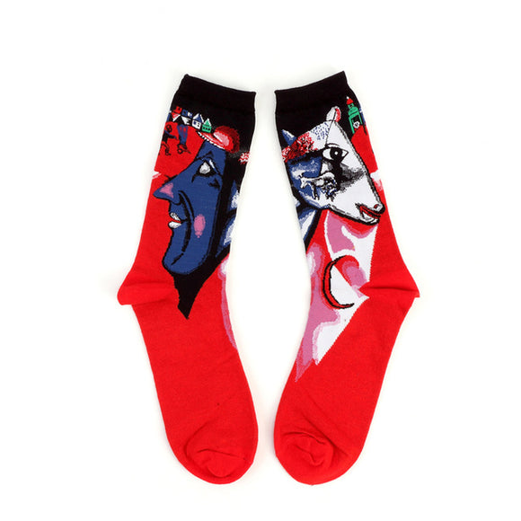 Chagall I and the Village Painting Cotton Crew Socks Men/Women One Size (EU 37 - 45, US 6 - 11 ) - HyperbrainStudios.com