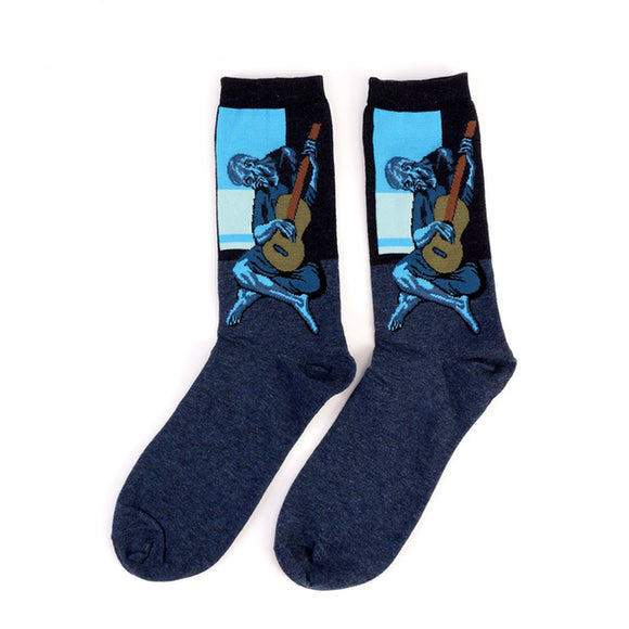 Picasso Painting Old Guitarist Cotton Crew Socks Men/Women One Size (EU 37 - 45, US 6 - 11 ) - HyperbrainStudios.com