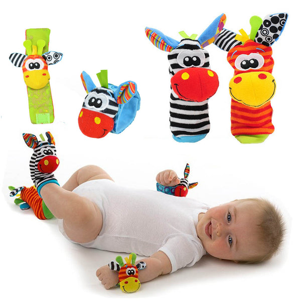 Baby Foot and Wrist Rattle Set (4 Piece Set Wrist + Foot) -