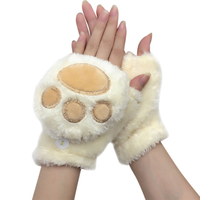 Cat Paw Fingerless Gloves -