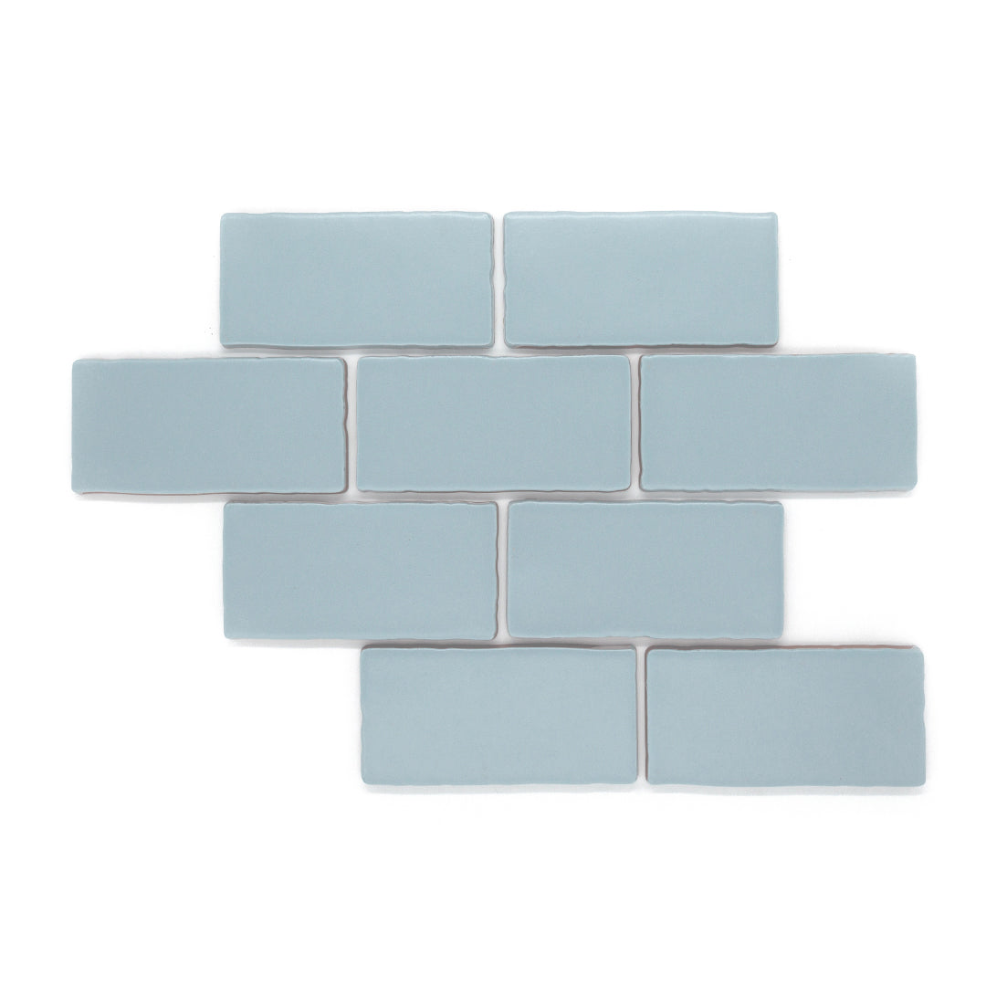 Dipped Lagoon modern matte ceramic subway & candlestick tile for residential and commercial kitchen backsplash imported from Spain, Cevica Antic Pastels Cielo available from TilesInspired Canada's Online Tile Store delivering across Ontario and Quebec, including Toronto, Montreal, Ottawa, London, Windsor, Kitchener, Muskoka, Barrie, Kingston, Hamilton, and Niagara renovation idea