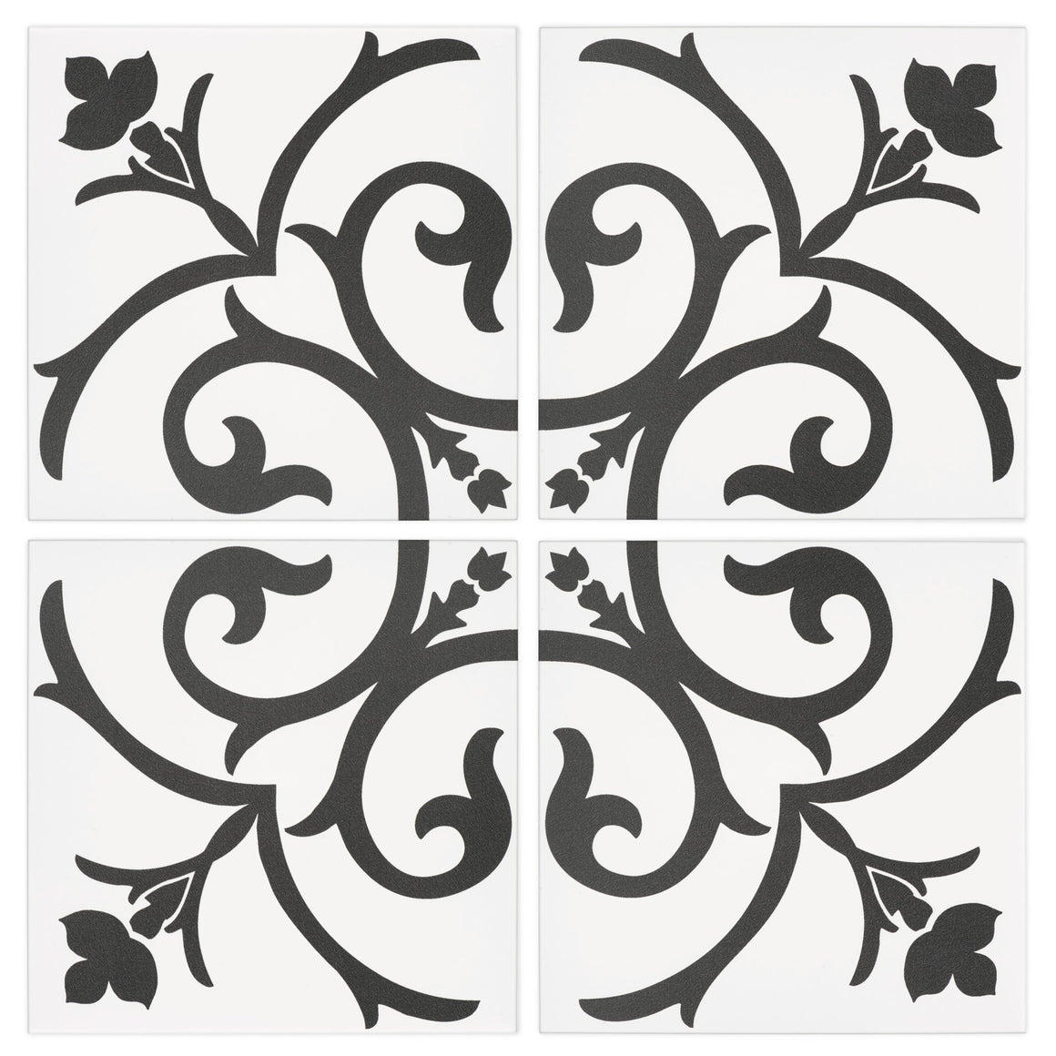 Damask Black and White vintage glossy porcelain decorative pattern tile for residential and commercial dining room floor and wall imported from Portugal, Kerion Décor Classic A Noir available from TilesInspired Canada's Online Tile Store delivering across Ontario and Quebec, including Toronto, Montreal, Ottawa, London, Windsor, Kitchener, Muskoka, Barrie, Kingston, Hamilton, and Niagara renovation idea