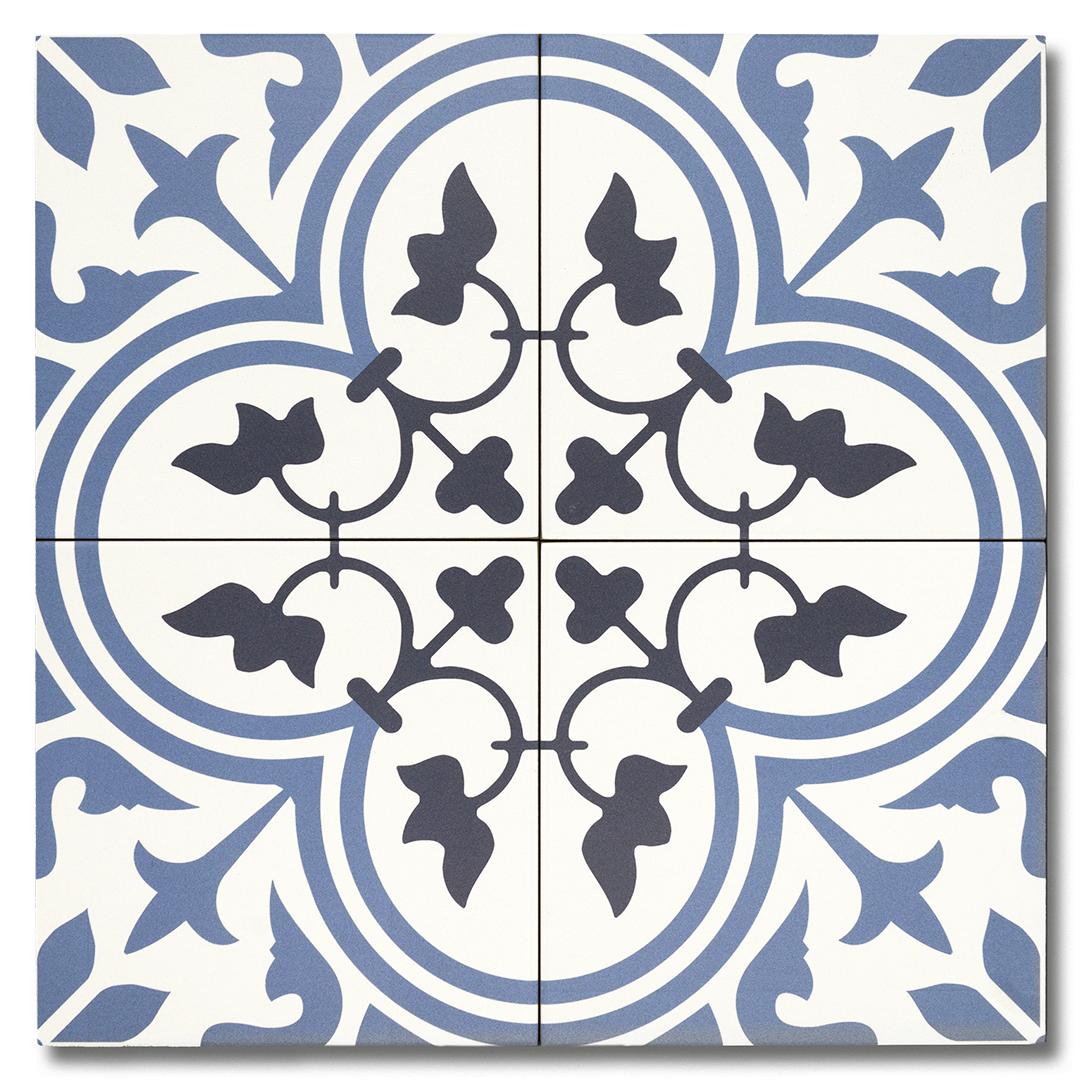 Hydraulic Black, Blue and White vintage matte porcelain decorative pattern tile for residential and commercial bathroom and kitchen floor and wall imported from Spain, Sottocer Tulip available from TilesInspired Canada's Online Tile Store delivering across Ontario and Quebec, including Toronto, Montreal, Ottawa, London, Windsor, Kitchener, Muskoka, Barrie, Kingston, Hamilton, and Niagara design idea
