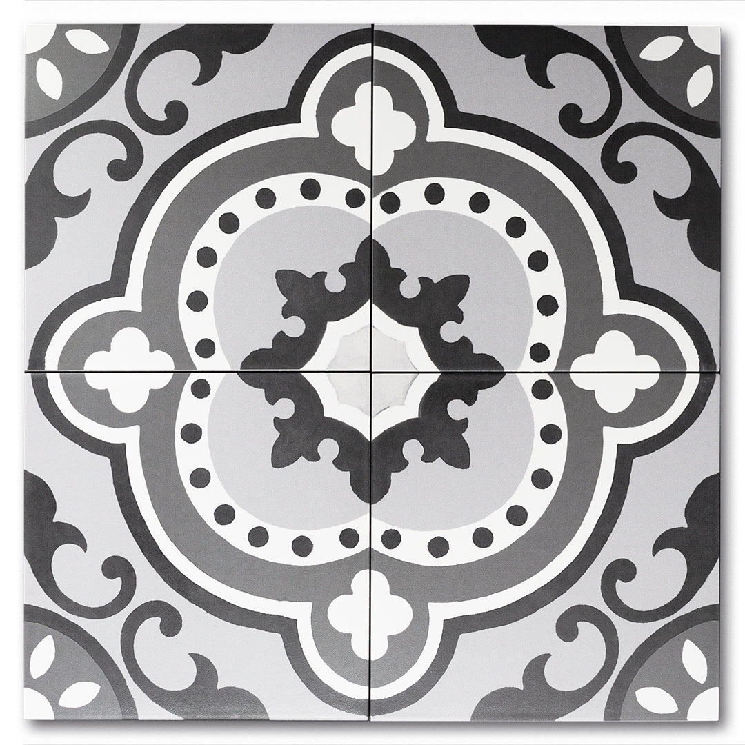 Artisan Monochrome classic matte porcelain decorative pattern tile for residential and commercial bathroom and kitchen floor and wall imported from Portugal, Kerion neocim ®Memory 03 available from TilesInspired Canada's Online Tile Store delivering across Ontario and Quebec, including Toronto, Montreal, Ottawa, London, Windsor, Kitchener, Muskoka, Barrie, Kingston, Hamilton, and Niagara renovation idea