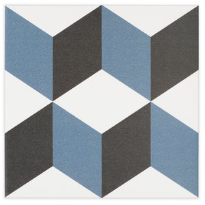 Cubica Blue, Black and White modern glossy porcelain decorative pattern tile for residential and commercial dining room floor and wall imported from Portugal, Kerion Décor Cubique Bleu available from TilesInspired Canada's Online Tile Store delivering across Ontario and Quebec, including Toronto, Montreal, Ottawa, London, Windsor, Kitchener, Muskoka, Barrie, Kingston, Hamilton, and Niagara tile idea