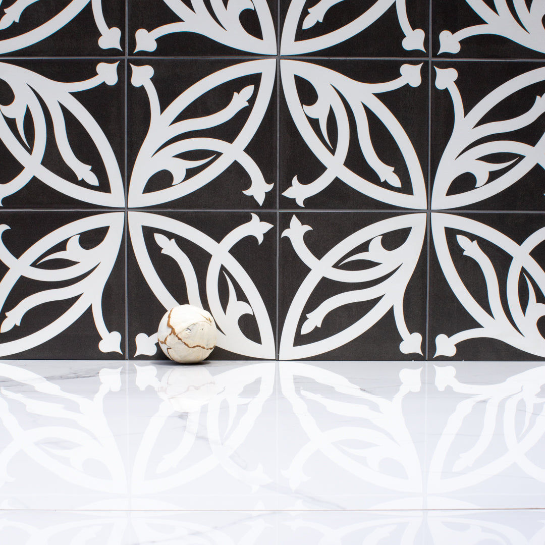 Entwined Black and White vintage matte porcelain decorative pattern tile for residential and commercial bathroom and kitchen floor and wall imported from Portugal, Kerion Décor Lis Plomb available from TilesInspired Canada's Online Tile Store delivering across Ontario and Quebec, including Toronto, Montreal, Ottawa, London, Windsor, Kitchener, Muskoka, Barrie, Kingston, Hamilton, and Niagara decoration idea