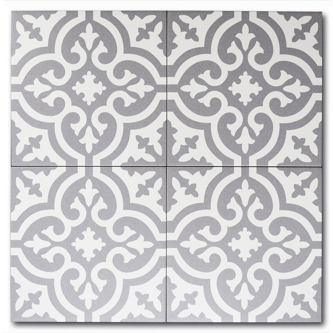 Fleur Greyscale classic matte porcelain decorative pattern tile for residential and commercial bathroom and kitchen floor and wall imported from Portugal, Kerion Décor Classic E Titane available from TilesInspired Canada's Online Tile Store delivering across Ontario and Quebec, including Toronto, Montreal, Ottawa, London, Windsor, Kitchener, Muskoka, Barrie, Kingston, Hamilton, and Niagara renovation idea