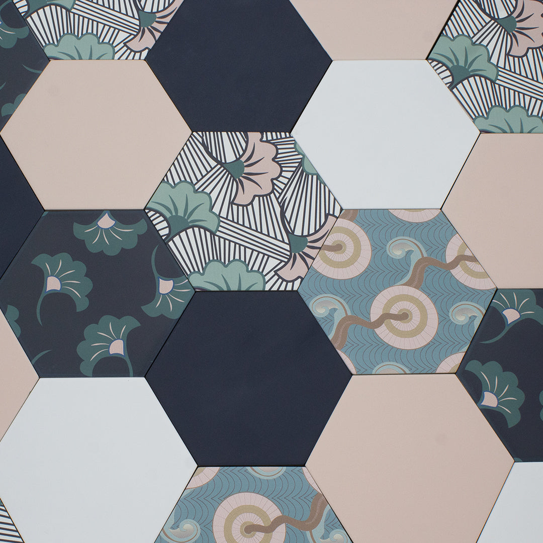 Good Vibes Fanfare Black, Green, and Pink modern matte porcelain hexagon tile for commercial bathroom and kitchen floor and wall imported from Spain, Cevica Good Vibes Dec 2 available from TilesInspired Canada's Online Tile Store delivering across Ontario and Quebec, including Toronto, Montreal, Ottawa, London, Windsor, Kitchener, Muskoka, Barrie, Kingston, Hamilton, and Niagara design idea