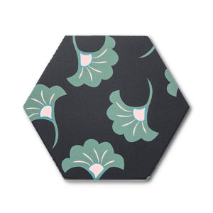 Good Vibes Blossom Black, Green, and Pink modern matte porcelain hexagon tile for commercial bathroom and kitchen floor and wall imported from Spain, Cevica Good Vibes Dec 3 available from TilesInspired Canada's Online Tile Store delivering across Ontario and Quebec, including Toronto, Montreal, Ottawa, London, Windsor, Kitchener, Muskoka, Barrie, Kingston, Hamilton, and Niagara design idea