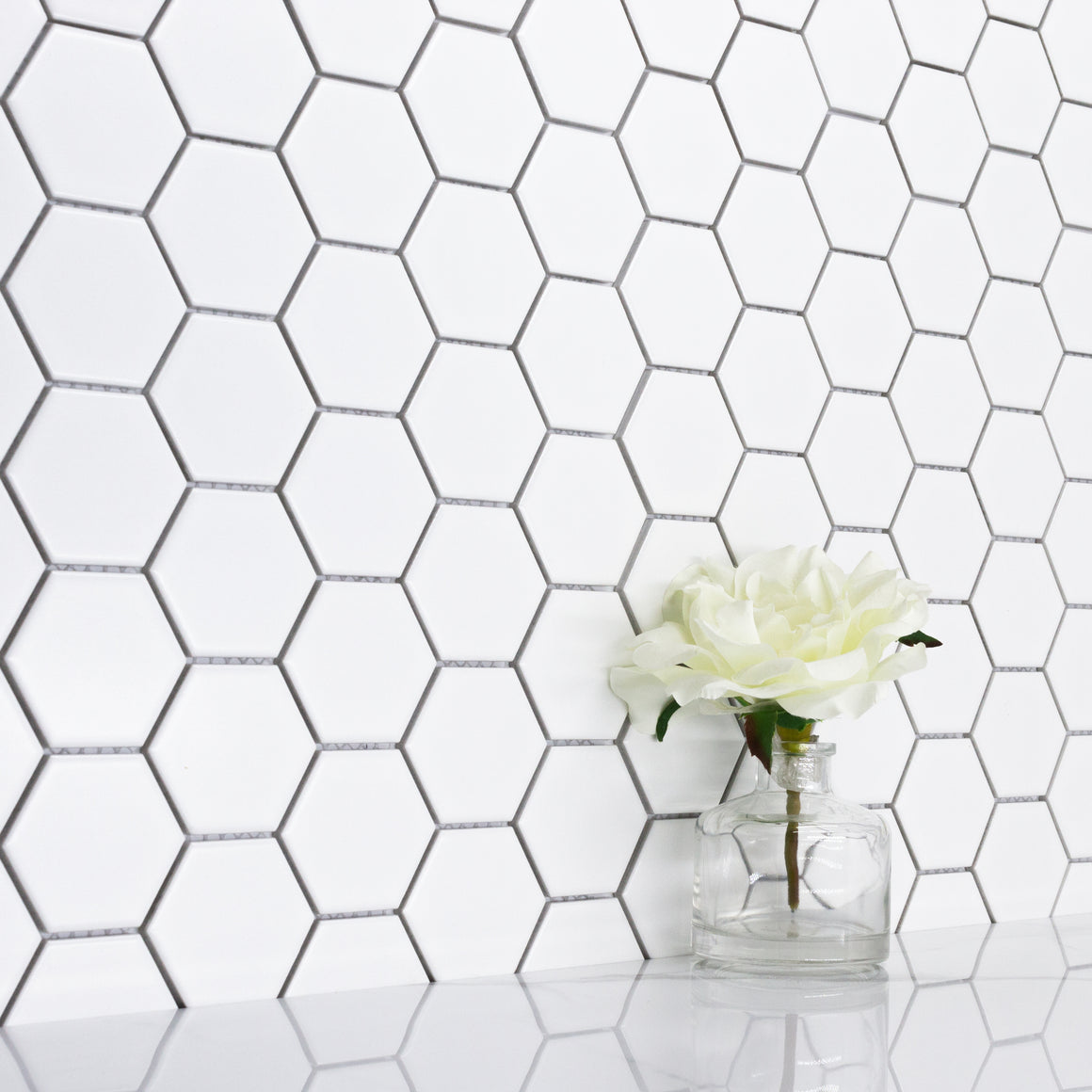 "Hexa-Dot 2"" Hexagon White bold matte porcelain mosaic for residential and commercial bathroom and kitchen floor and wall imported from China, Anatolia available from TilesInspired Canada's Online Tile Store delivering across Ontario and Quebec, including Toronto, Montreal, Ottawa, London, Windsor, Kitchener, Muskoka, Barrie, Kingston, Hamilton, and Niagara decoration idea"