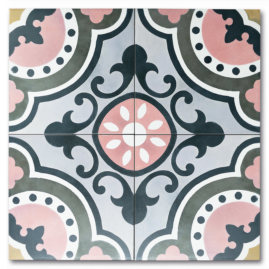 Joie de Vivre Black, Grey, White, Pink classic  porcelain decorative pattern tile for residential and commercial bathroom and kitchen floor and wall imported from Portugal, Kerion neocim Memory 02 available from TilesInspired Canada's Online Tile Store delivering across Ontario and Quebec, including Toronto, Montreal, Ottawa, London, Windsor, Kitchener, Muskoka, Barrie, Kingston, Hamilton, and Niagara renovation idea