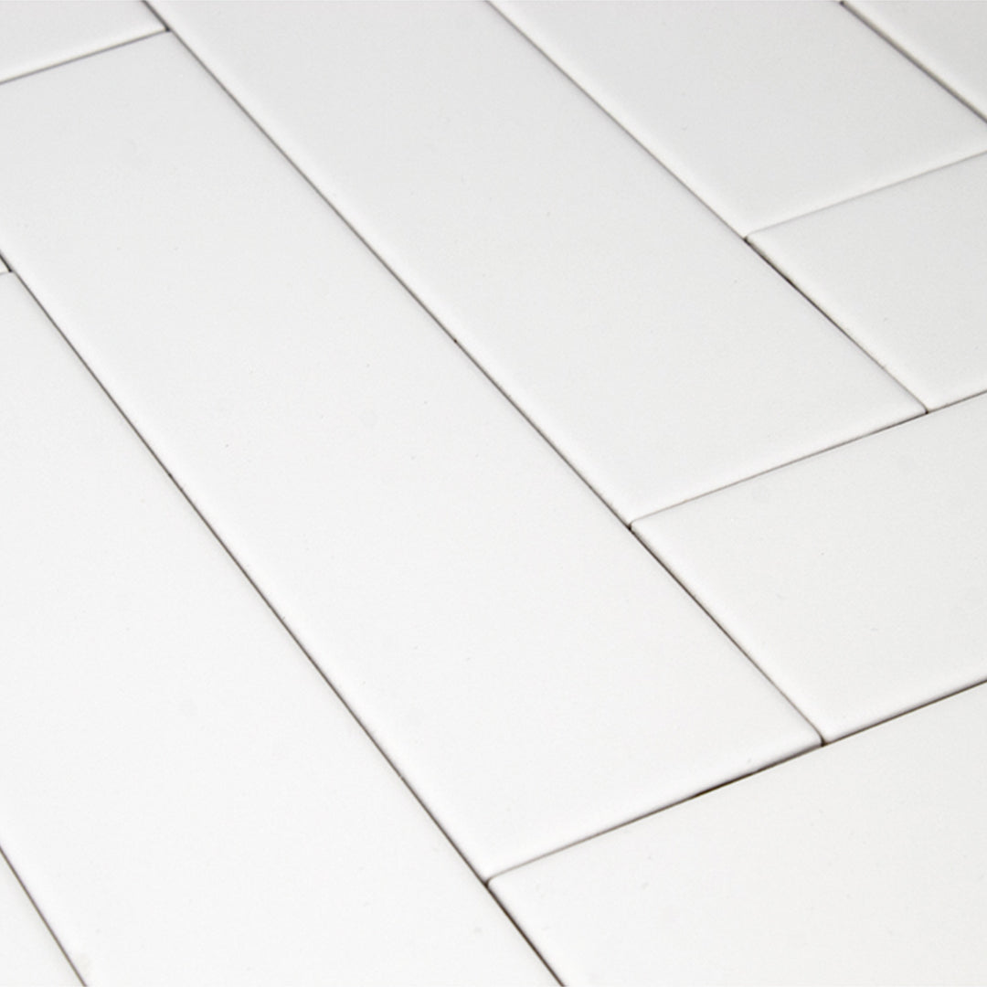 Manhattan White modern matte ceramic subway & candlestick tile for residential bathroom and kitchen floor and wall imported from Spain, Cevica Manhattan Brick White available from TilesInspired Canada's Online Tile Store delivering across Ontario and Quebec, including Toronto, Montreal, Ottawa, London, Windsor, Kitchener, Muskoka, Barrie, Kingston, Hamilton, and Niagara tile idea