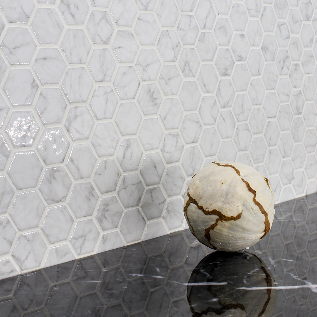 Marble Hex White classic  glass hexagon tile for residential and commercial bathroom and kitchen wall imported from Spain, Vidrepur CARRARA GRAY MT HEX available from TilesInspired Canada's Online Tile Store delivering across Ontario and Quebec, including Toronto, Montreal, Ottawa, London, Windsor, Kitchener, Muskoka, Barrie, Kingston, Hamilton, and Niagara tile idea