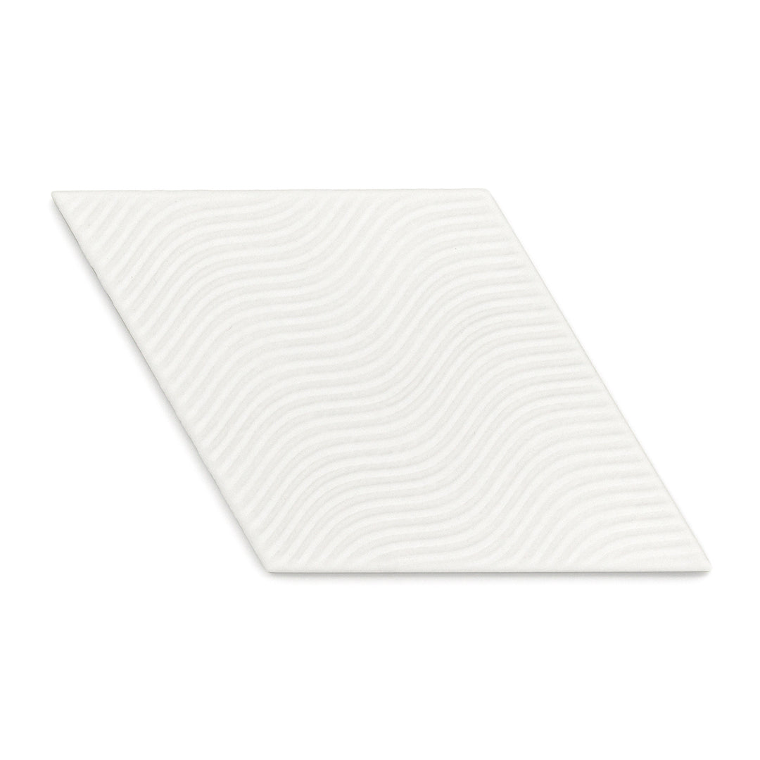 Rhombus Linea White modern matte porcelain decorative pattern tile for residential bathroom and kitchen floor and wall imported from Spain, Equipe Rhombus White Decor available from TilesInspired Canada's Online Tile Store delivering across Ontario and Quebec, including Toronto, Montreal, Ottawa, London, Windsor, Kitchener, Muskoka, Barrie, Kingston, Hamilton, and Niagara tile idea