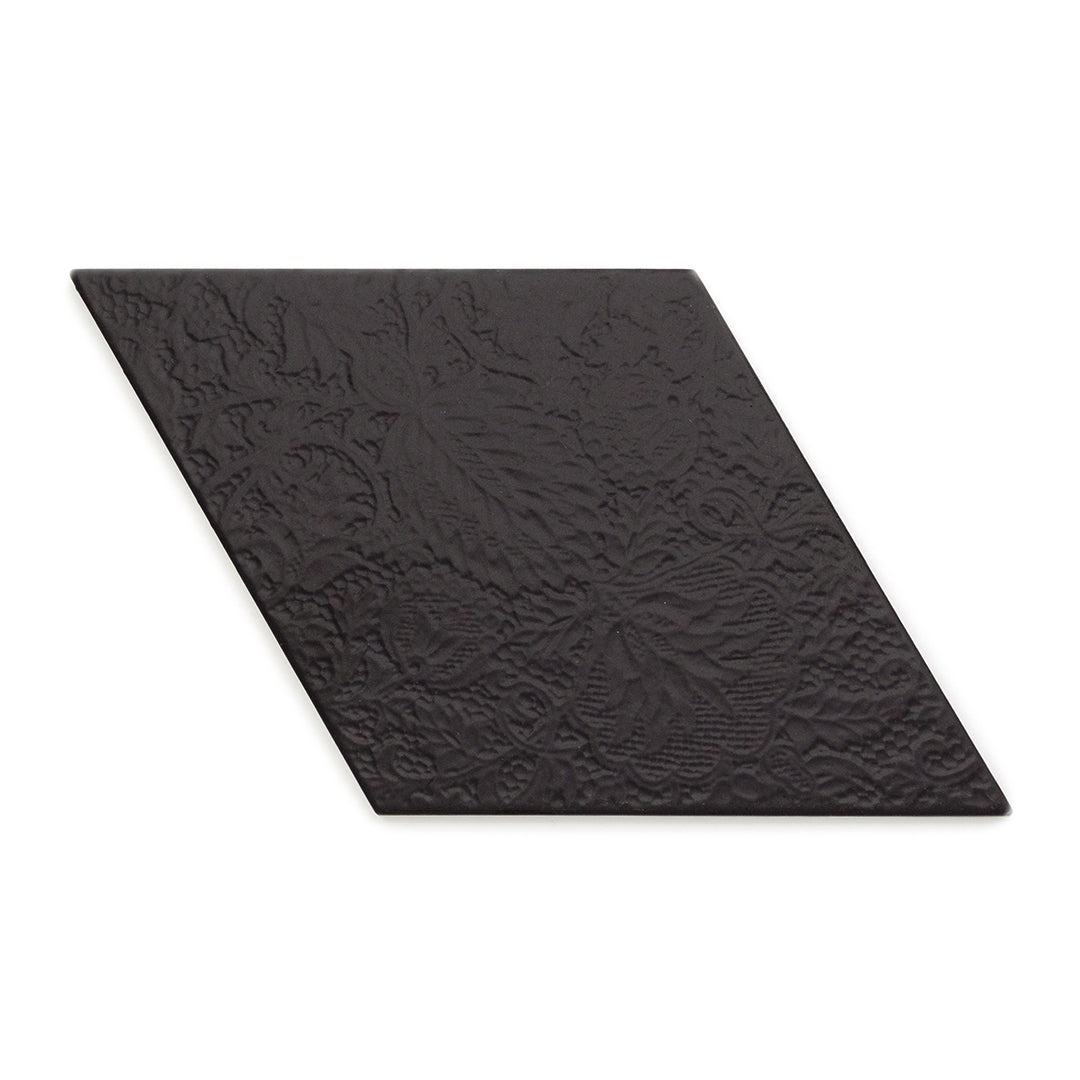 Rhombus Wave Black modern matte porcelain decorative pattern tile for residential bathroom and kitchen floor and wall imported from Spain, Equipe Rhombus Black Decor available from TilesInspired Canada's Online Tile Store delivering across Ontario and Quebec, including Toronto, Montreal, Ottawa, London, Windsor, Kitchener, Muskoka, Barrie, Kingston, Hamilton, and Niagara tile idea