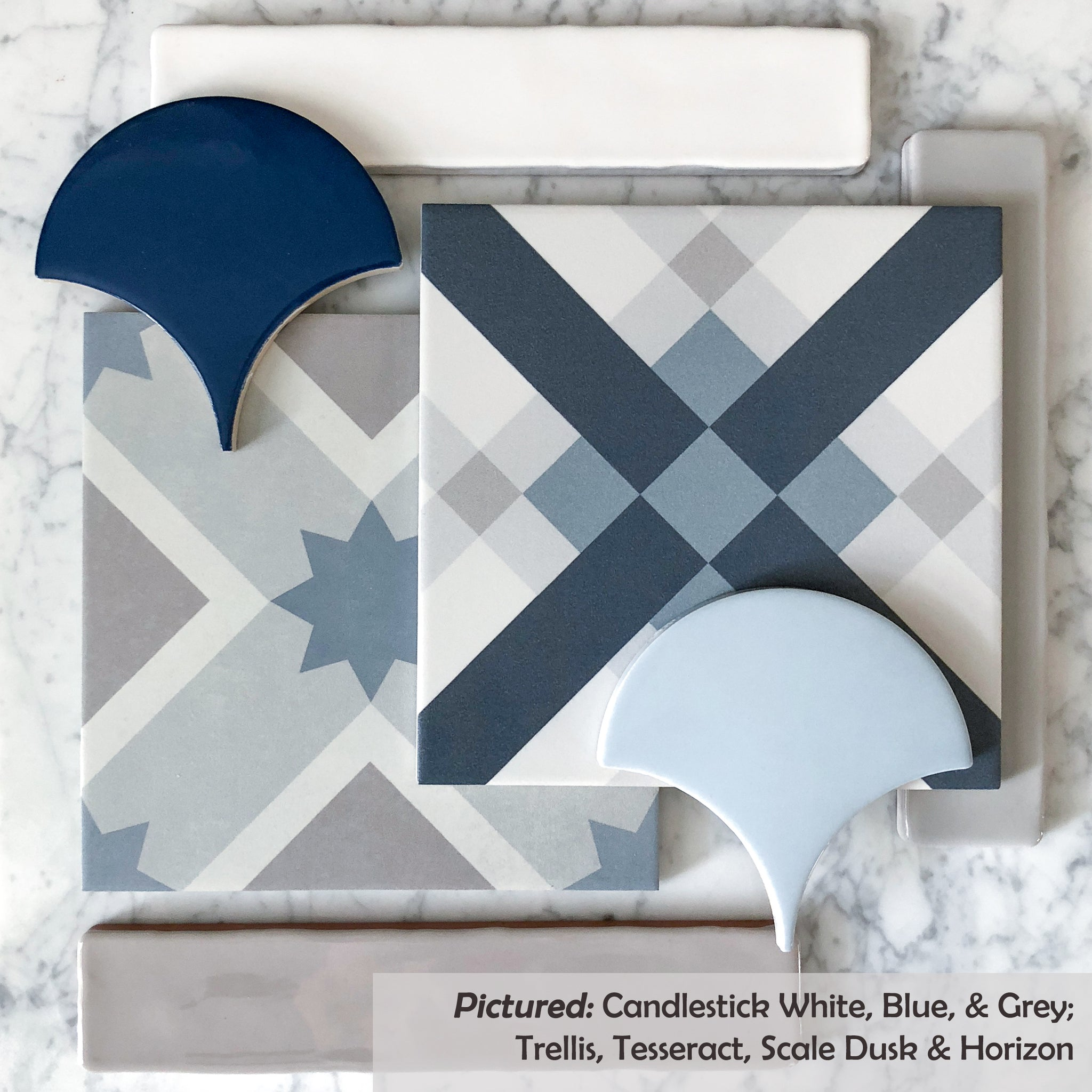 Dusk Grey Tile: Fish Scale And Scallop Tiles
