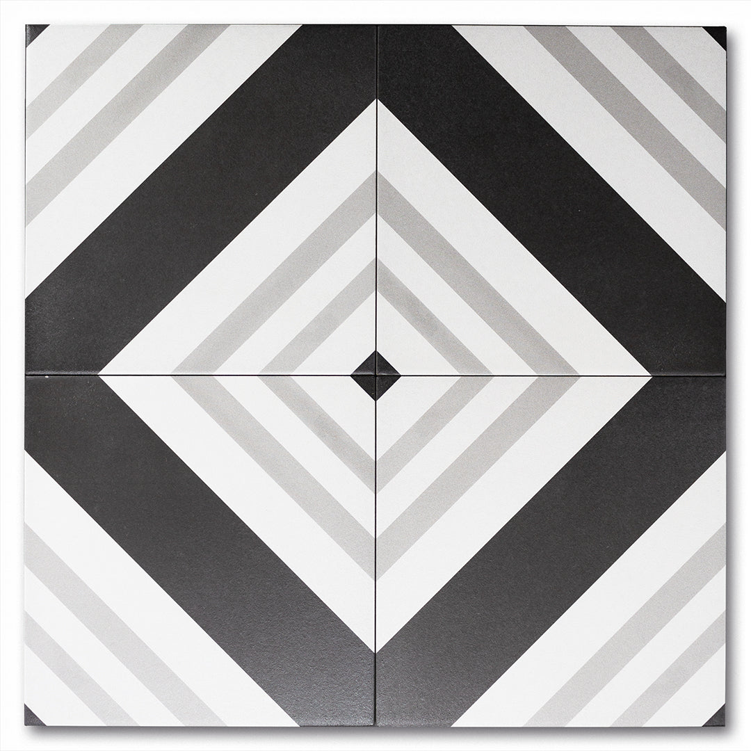 Trestle Black, Grey, White timeless matte porcelain decorative pattern tile for residential and commercial bathroom and kitchen floor and wall imported from Italy, Elios Geo B B&W available from TilesInspired Canada's Online Tile Store delivering across Ontario and Quebec, including Toronto, Montreal, Ottawa, London, Windsor, Kitchener, Muskoka, Barrie, Kingston, Hamilton, and Niagara decoration idea