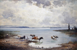 H Stadelhofer - Cows By The Shoreline - Oil On Canvas