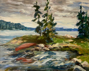Load image into Gallery viewer, Robert Smyth - Canoe Landscape - Oil on Canvas