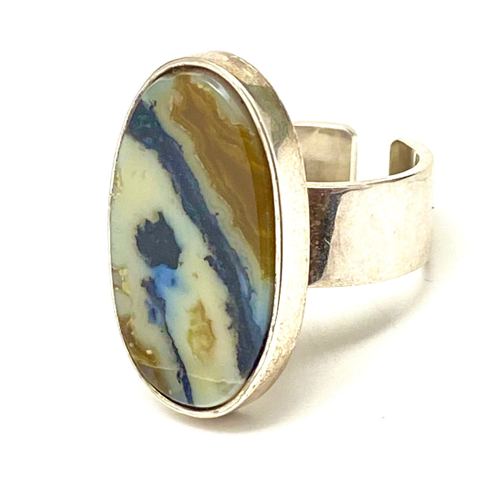 GEORG JENSEN 188B Sterling Silver & Banded Agate Ring