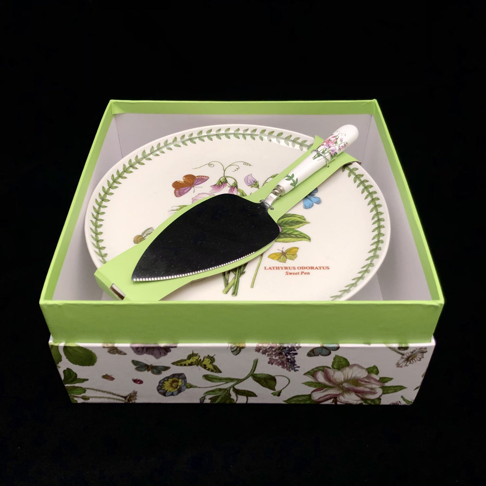 PORTMEIRION Botanic Garden Cake Stand & Knife - In Box