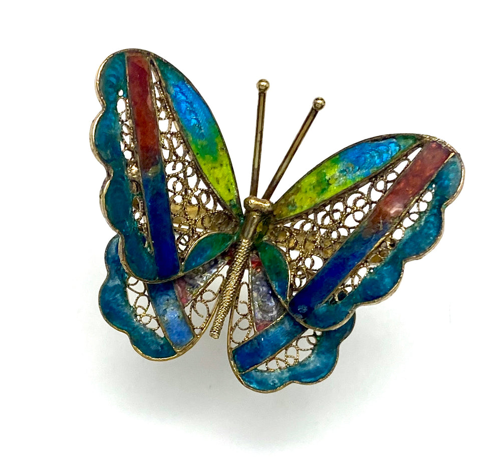 Chinese Export Rainbow Enamel Butterfly Brooch