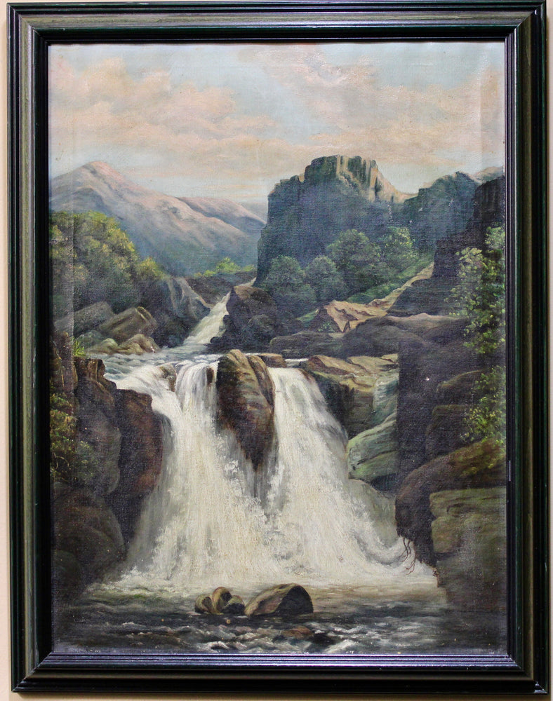 Unknown Artist - Waterfall Landcape - Oil on Canvas