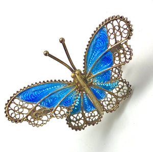 Chinese Export Blue Enamel Butterfly Brooch