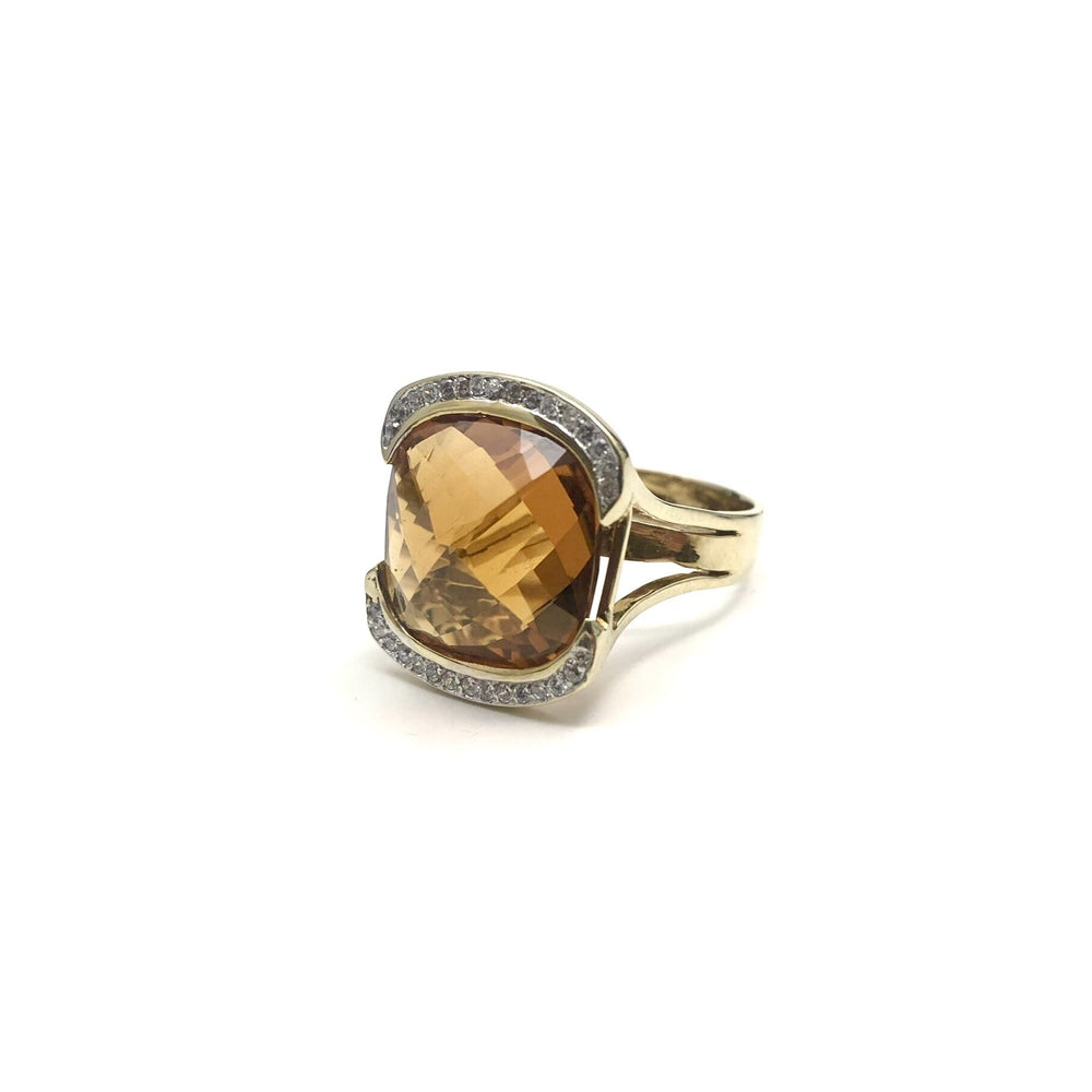 10K Faceted Citrine & Cubic Zirconia Ring